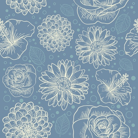 Floral seamless retro pattern with hand drawn flowers and dots Stock Vector - 12412852