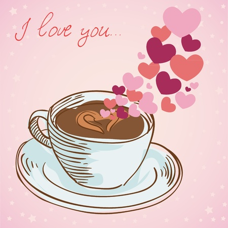 saucer: Tasty coffee cup greeting card with hearts and love