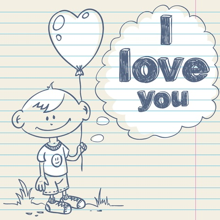 Cute greeting card with hand drawn cartoon little boy holding a balloon heart and love text