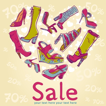 woman shoes: Sale discount woman shoes invitation card on colorful background