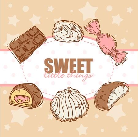 candy bar: Creativo retro carta con gustosi cioccolatini e dolci marshmallow