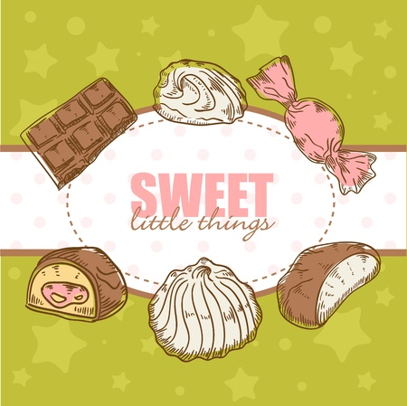 Creative retro card with tasty sweet chocolate candies and marshmallow Vector
