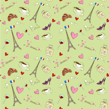 france perfume: Paris seamless pattern with coffee, hearts and eiffel tower