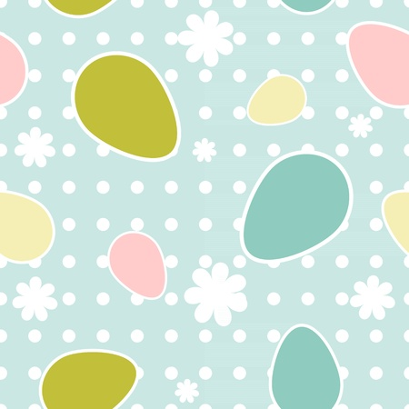 textile image: Easter seamless pattern with different colorful eggs