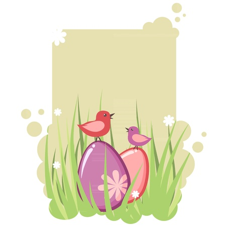 Cute decorative easter tag with eggs and birds Stock Vector - 12412868