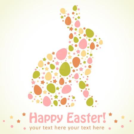 Conejo de Pascua tarjeta de silueta hecha de huevos y las estrellas