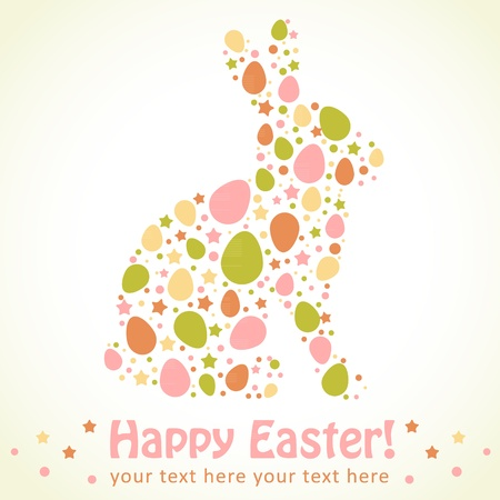 rabbit silhouette: Easter bunny silhouette card made of eggs and stars