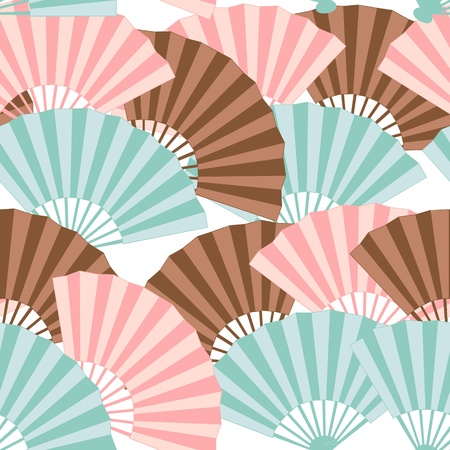 paper fan: Cute japanese fan colorful seamless pattern