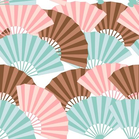 Schattige Japanse fan kleurrijke naadloze patroon