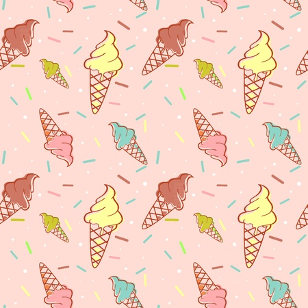 Colorful melting ice-cream seamless pattern confetti Vector