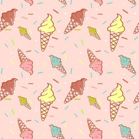 Colorful melting ice-cream seamless pattern confetti
