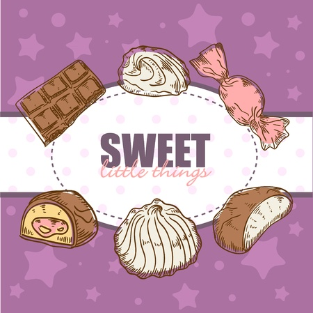 candy bar: Creative retro card with tasty sweet chocolate candies and marshmallow