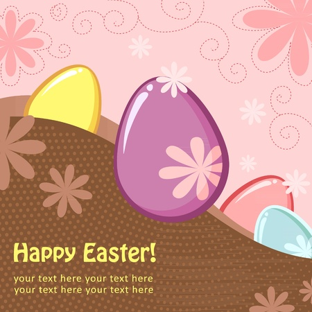 Easter greeting decorative postcard with different easter eggs Stock Vector - 12412880