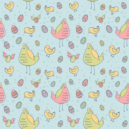 Easter eggs, hen and chicken cartoon hand drawn seamless texture Stock Vector - 12412889
