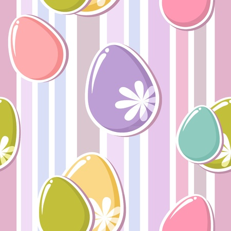 Cute easter eggs seamless pattern on colorful stripes background Vector