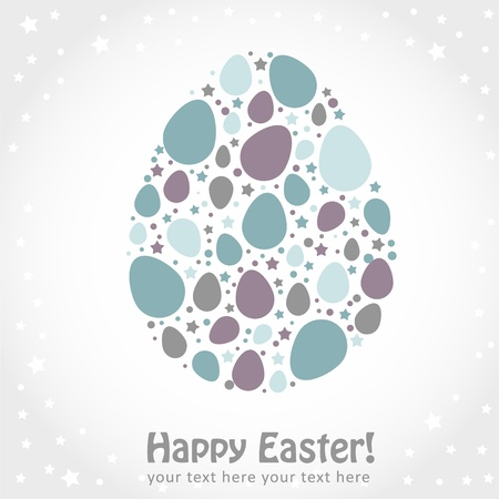 Easter egg stylized cute greeting or invitation card Vector
