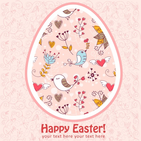 Easter egg cute floral card with flowers and lovely  birds Vector