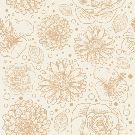 Floral seamless retro pattern with hand drawn flowers and dots Stock Vector - 12412893