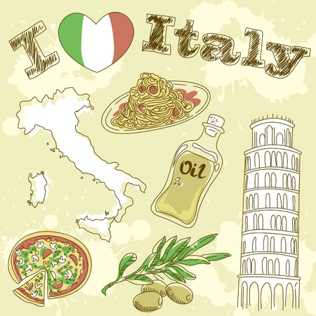 Italy travel grunge card with national italian food, sights, map and flag Vector