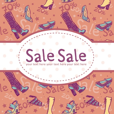 product brand: Sale discount woman shoes invitation card on seamless background