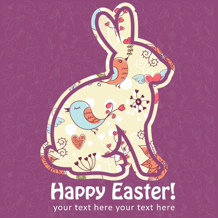 cartoon hare: Easter bunny silhouette card made of eggs and stars