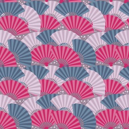 donna spagnola: Carino giapponese ventaglio colorato senza soluzione di continuit� Vettoriali