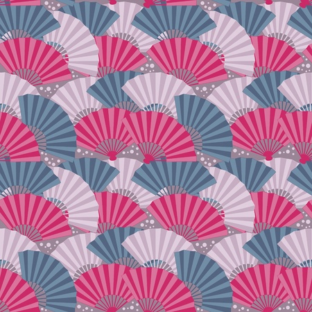 open fan: Cute japanese fan colorful seamless pattern
