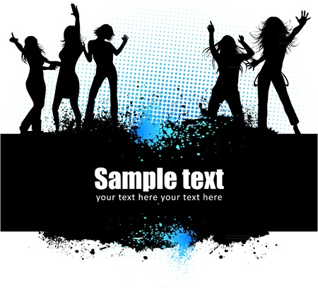 Dancing young people summer vector background text card