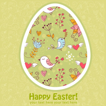 Easter egg cute floral card with flowers and lovely  birds Stock Vector - 12412909