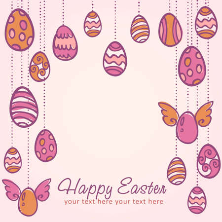 Easter eggs hanging on laces cartoon hand drawn postcard Vector