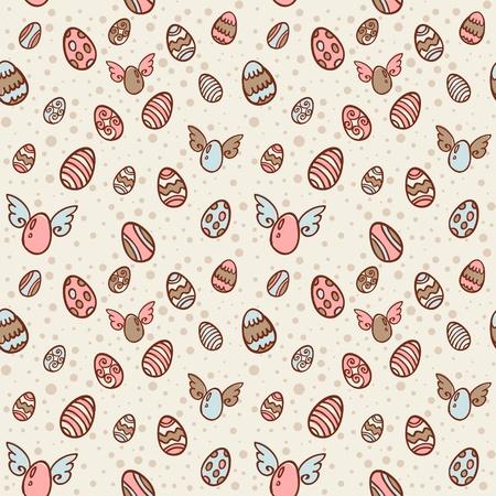 orthodox easter: Easter eggs cartoon hand drawn seamless texture