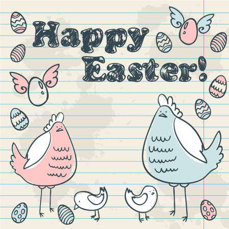 Cute Easter card with hen, chicken and eggs on a notebook sheet of paper grunge background Vector