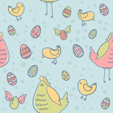 Easter eggs, hen and chicken cartoon hand drawn seamless texture Vector