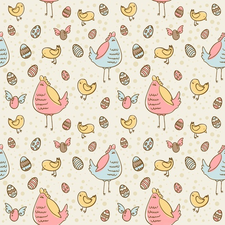 Easter eggs, hen and chicken cartoon hand drawn seamless texture