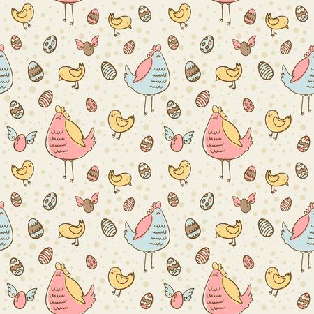 gallina con huevos: Los huevos de Pascua, la gallina y el pollo de dibujos animados de la mano dibujado perfecta textura