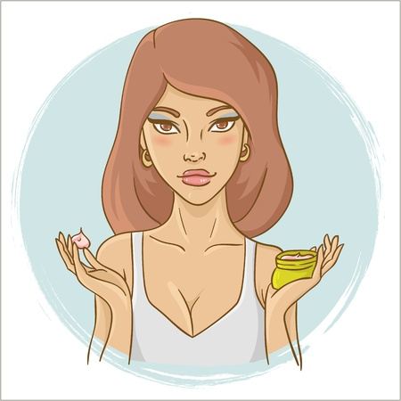dermatology: Beautiful young woman showing a face spa creme for face care Illustration