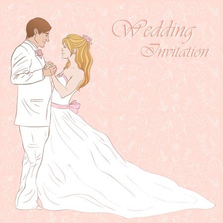 Novia y novio tarjeta de invitación de la boda sobre un fondo floral precioso