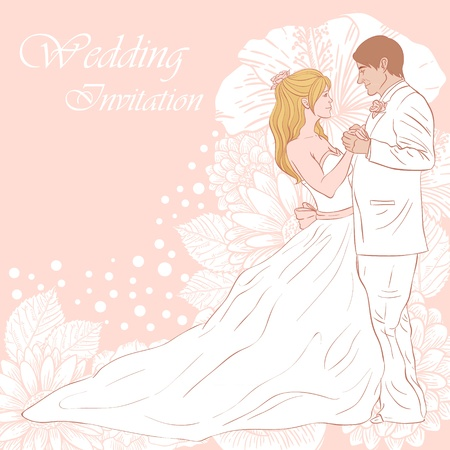 bridegroom: Bride and groom wedding invitation card on a lovely floral background