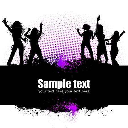 club flyer: Dancing young people summer vector background text card