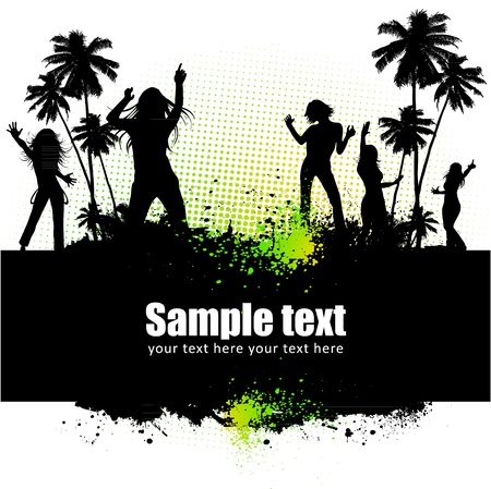 rave: Dancing young people summer vector background text card