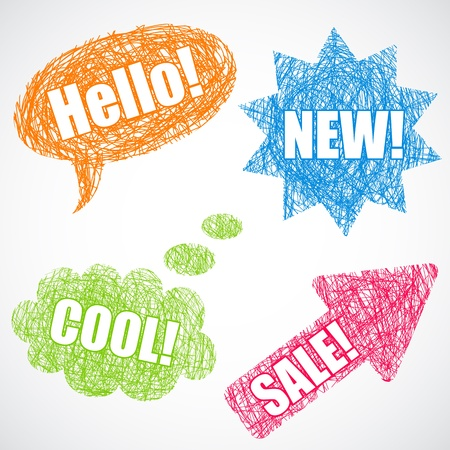 Colorful speech balloons, star and arrow with text Vector
