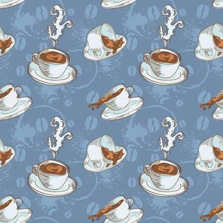 Steam coffee cups seamless pattern on a circle background Vector