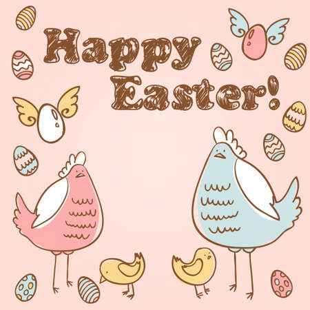 Cute Easter card with hen, chicken and colorful eggs Vector