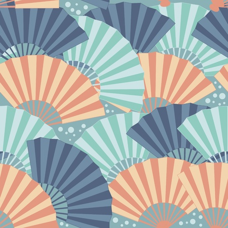 Cute japanese fan colorful seamless pattern Stock Vector - 12811618