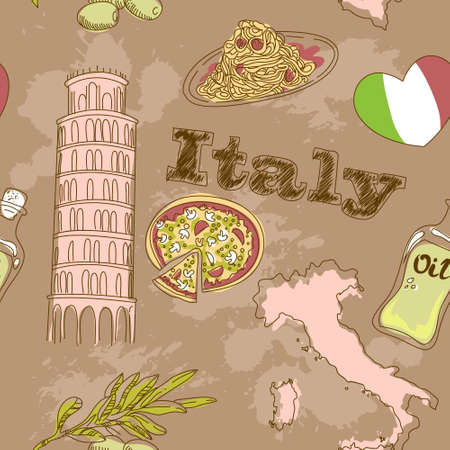 Italy travel grunge card with national italian food, sights, map and flag Stock Vector - 12811626
