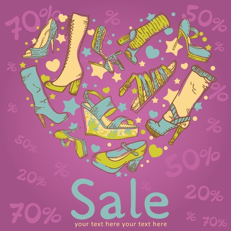 Sale discount woman shoes invitation card on colorful background Vector