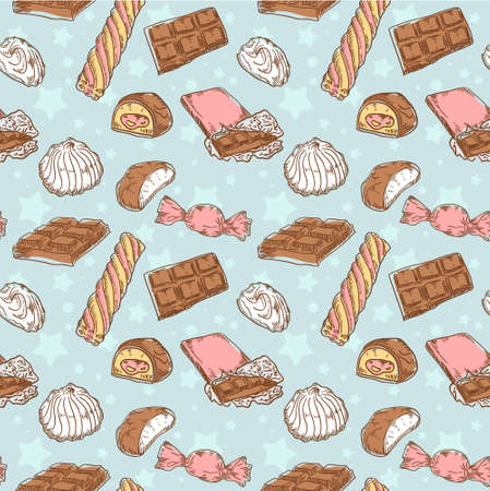 Vintage seamless texture with sweets, candies, chocolate bars and marshmallow on stars and dots background Vector