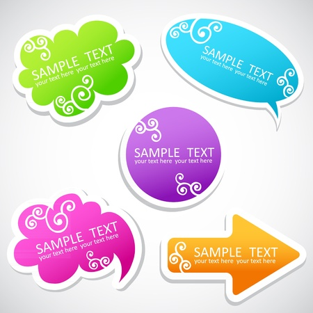 Colorful speech balloons, elements and arrow with swirls and text