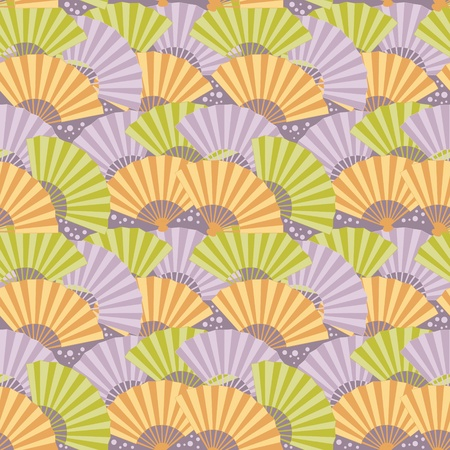 Cute japanese fan colorful seamless pattern Stock Vector - 12811635