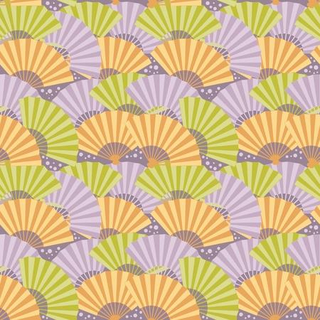 open fan: Cute japanese fan colorful seamless pattern
